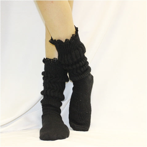 hooters slouch socks black with lace