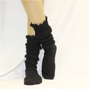 SCRUNCHY  lace slouch socks - black - luxury diva HOOTERS cotton socks usa made