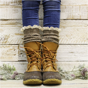 TAHOE slouch lace boot socks - brown tweed - Catherine Cole Studio