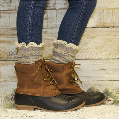 TAHOE slouch lace boot socks - oatmeal women's tall boot socks made USA best