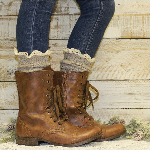 TAHOE slouch lace boot socks - oatmeal alpine tall boot socks cotton women's ETSY usa