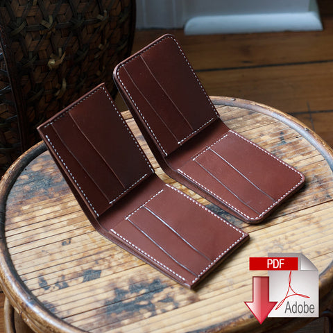 Leather Bi-Fold Wallet Digital Template Set - Slanted Slots (A4)