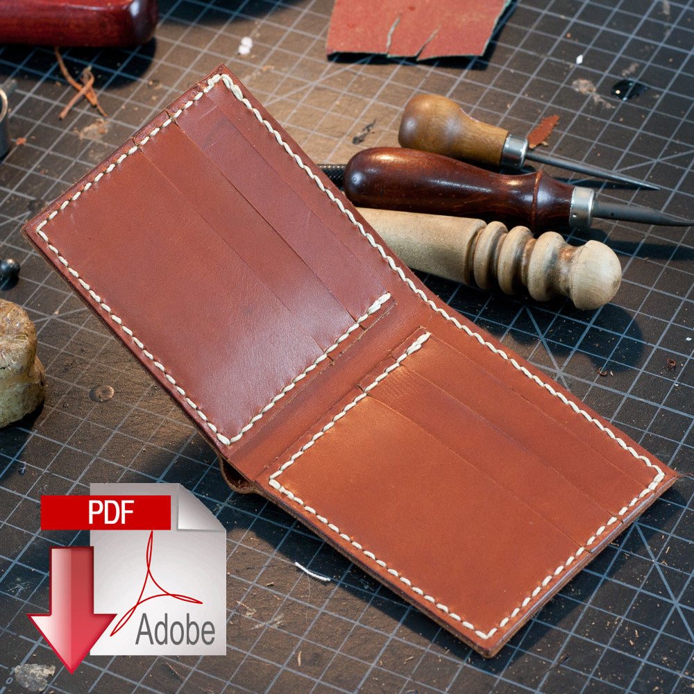 Classic Leather Bi Fold Wallet Digital Template A4 MAKESUPPLY