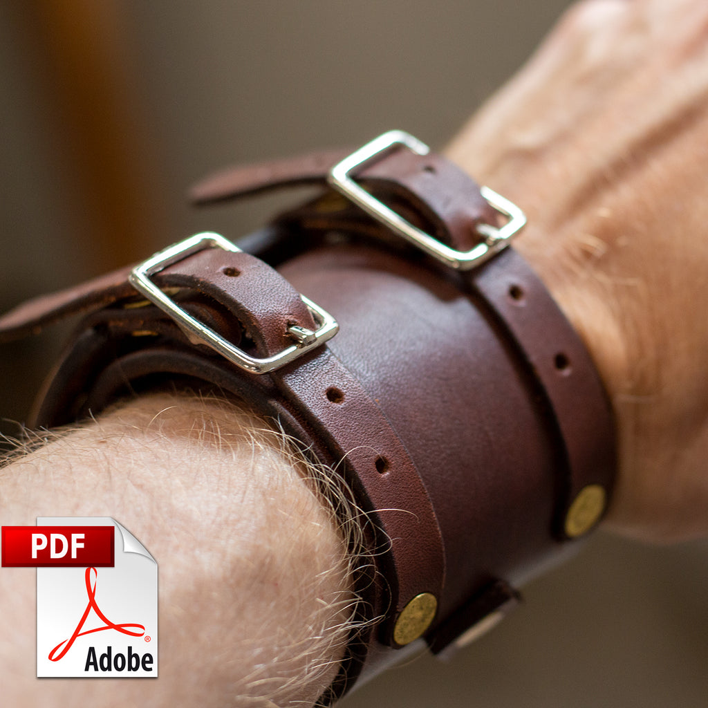 Double Buckle Leather Cuff Bracelet PDF Template Set (A4)