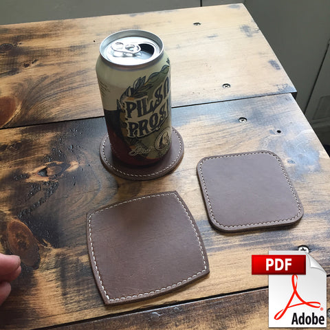 Leather Drink Coasters Digital PDF Template Set (A4)
