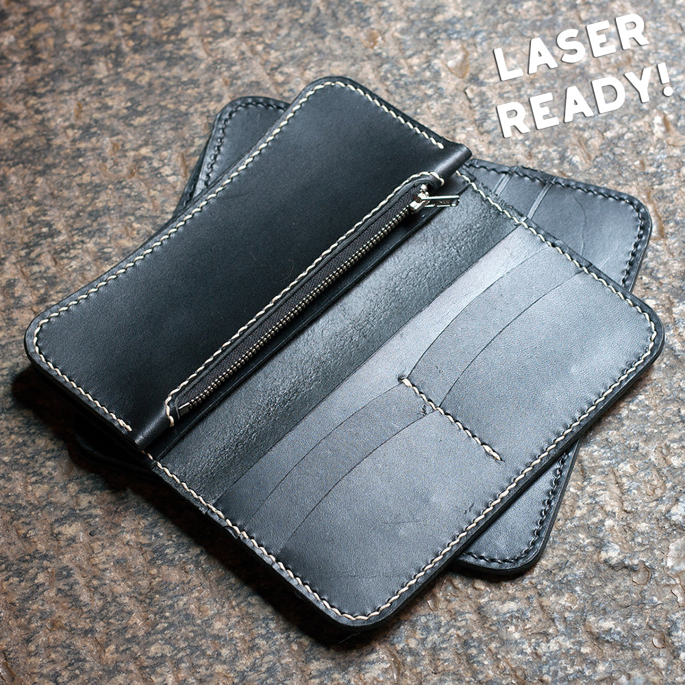 Leather Zipper Long Wallet (Laser Ready Files)