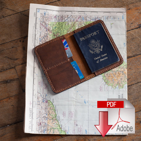 Leather Passport Cover Digital Template (8.5 x 11)