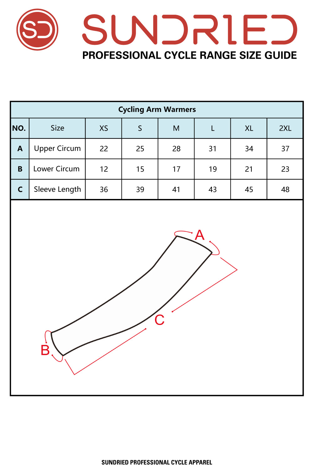 Sundried Arm Warmers Size Chart