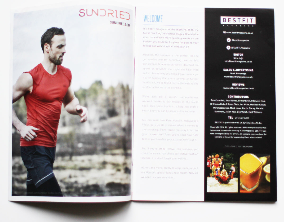 Bestfit Magazine Inside front cover advert with Sundried