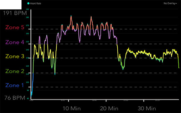 Heart Rate Data Overlayed between Mio Fuse and Garmin Connect
