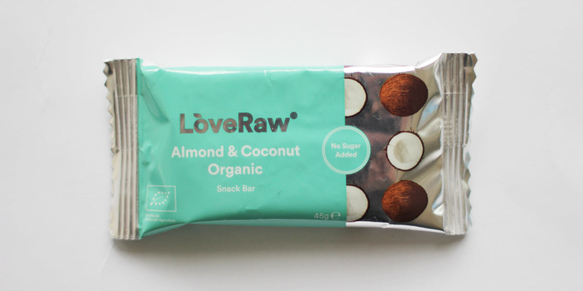 Almond and coconut organic snack bar raw vegan