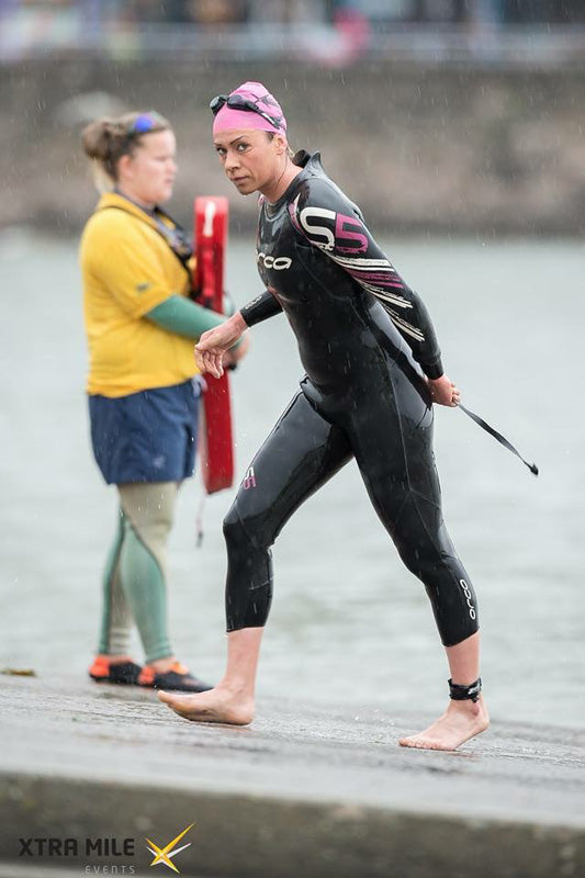 Triathlete Finishing Swim