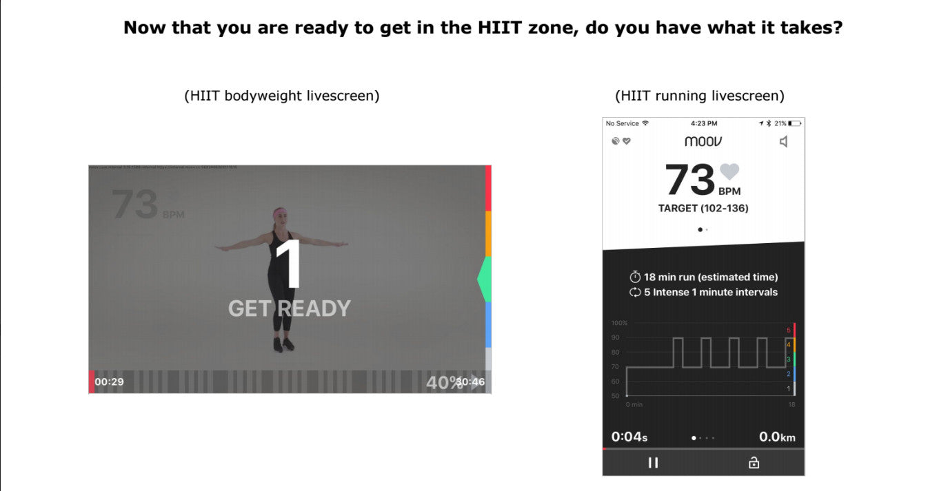 Moov Heart rate Screens