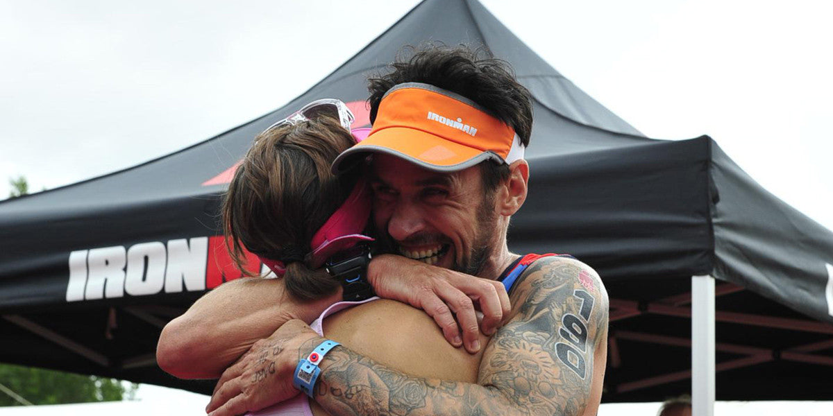 Paul Suett Hugging Ironman 70.3 Race Triathlon
