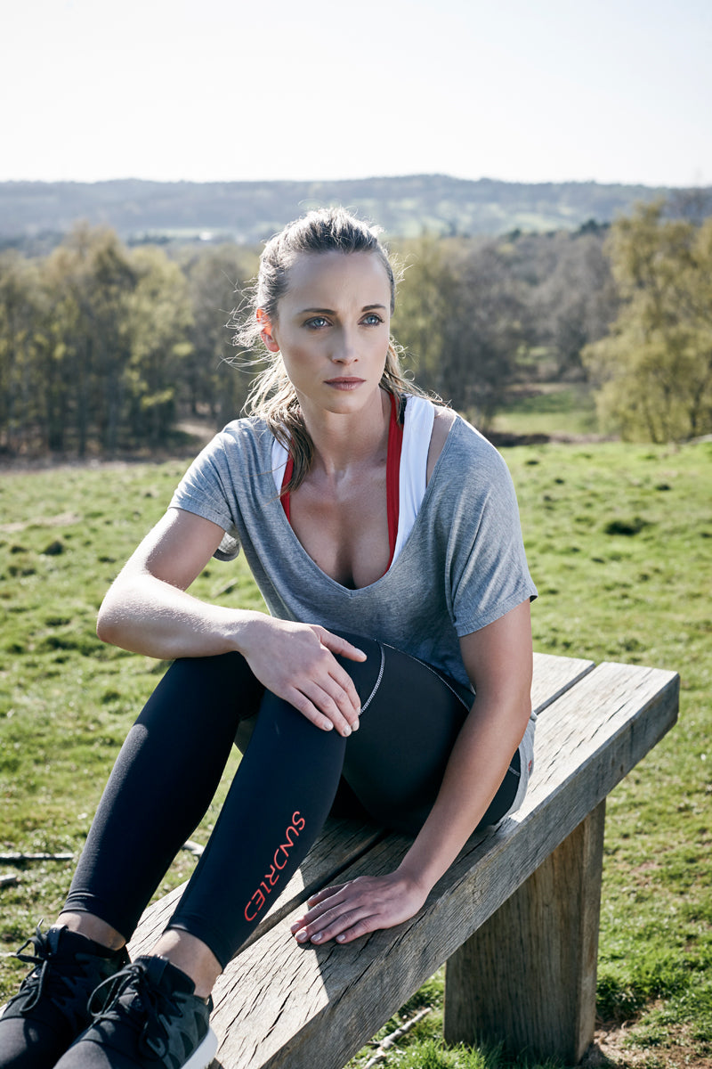 Female athlete wearing Sundried Activewear Outdoor Photoshoot