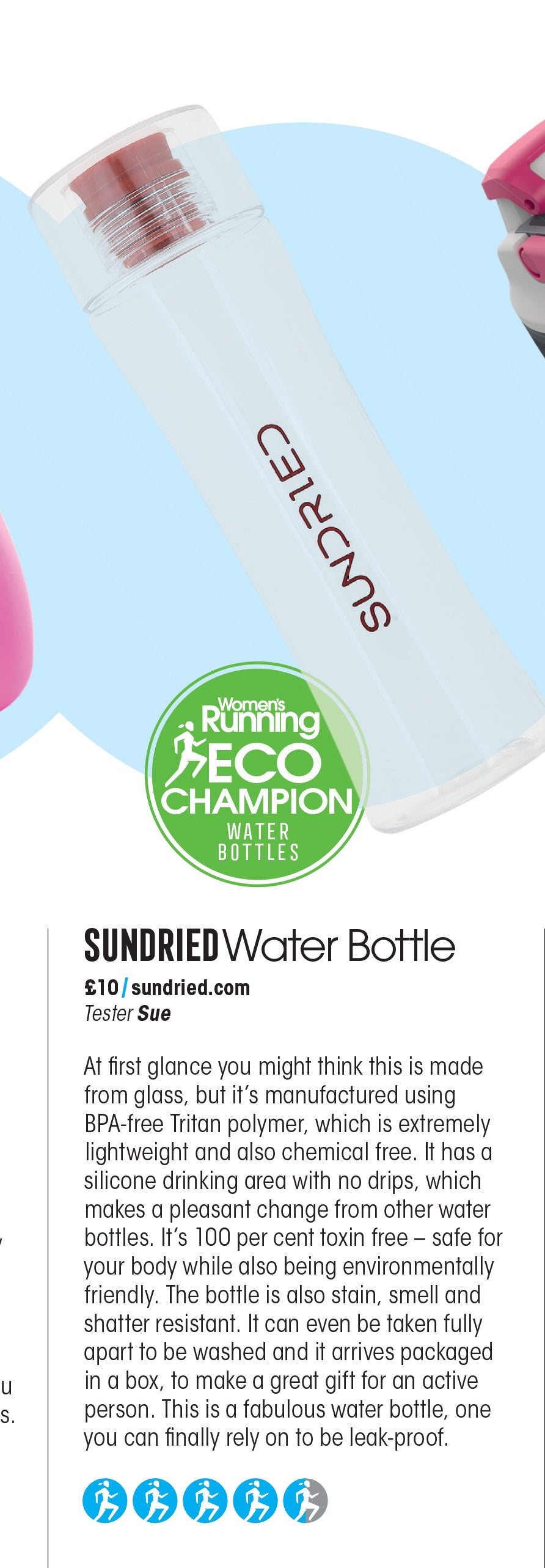 Recenzja Sundried Water Bottle w Women's Running Magazine