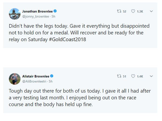 Brownlee brothers shock defeat Commonwealth games 2018 tweets