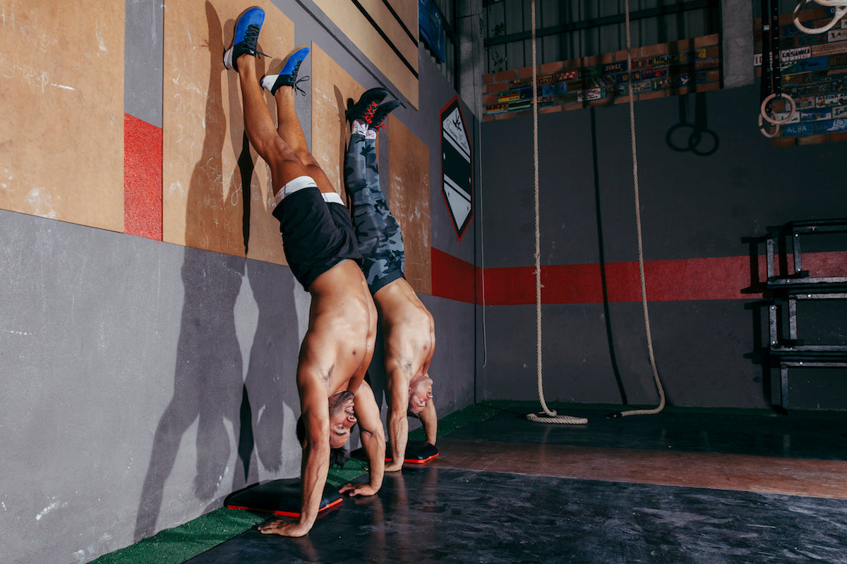 CrossFit training bodyweight workout handstand push up