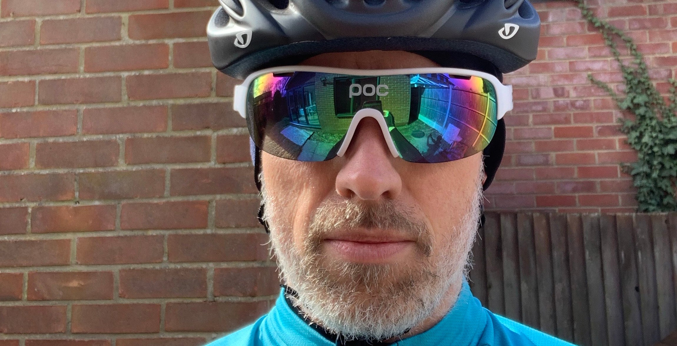 cyclist cycle helmet sunglasses