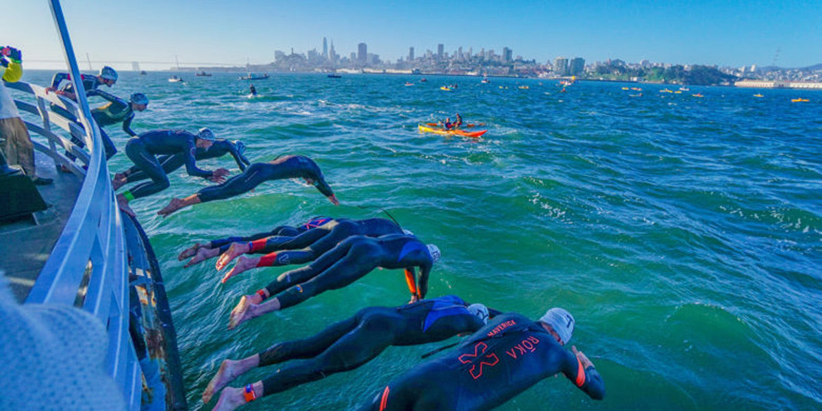 Escape From Alcatraz Triathlon swim boat jump