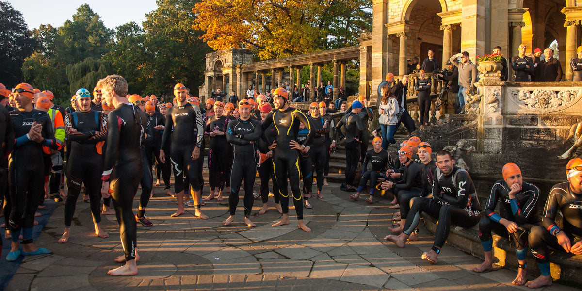 Hever Castle triathlon swim start wetsuit triathletes