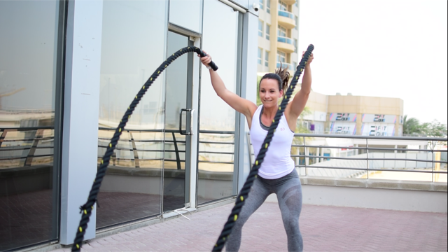 Anna Holmes Battle Ropes Outdoor Workout Sundried