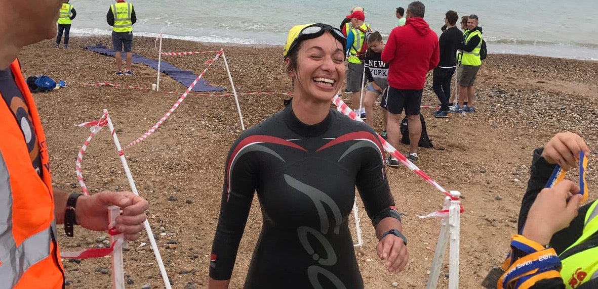 Ironman triathlete beach open water