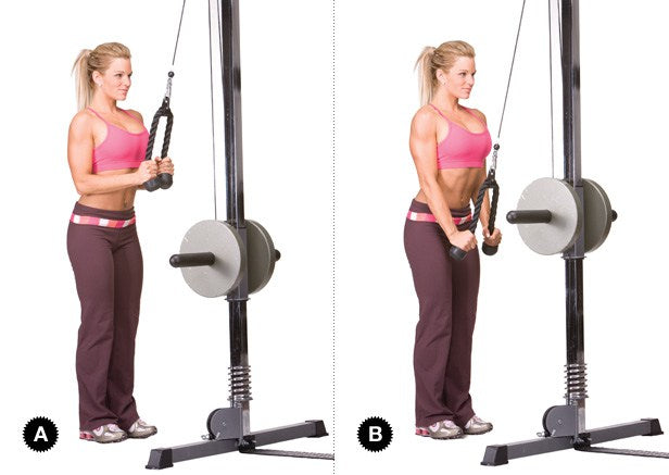 tricep pull down exercise arm workout for women