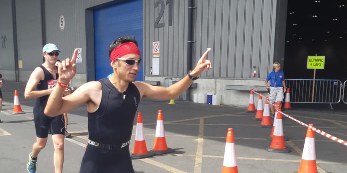 running triathlon finish