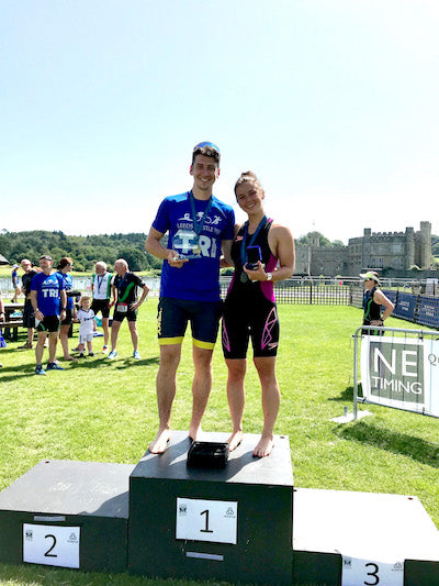 triathlon triathletes podium Leeds Castle Kent Triathlon 2019