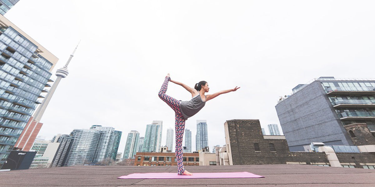 Yoga Stretching Workout Outdoors City Skyline