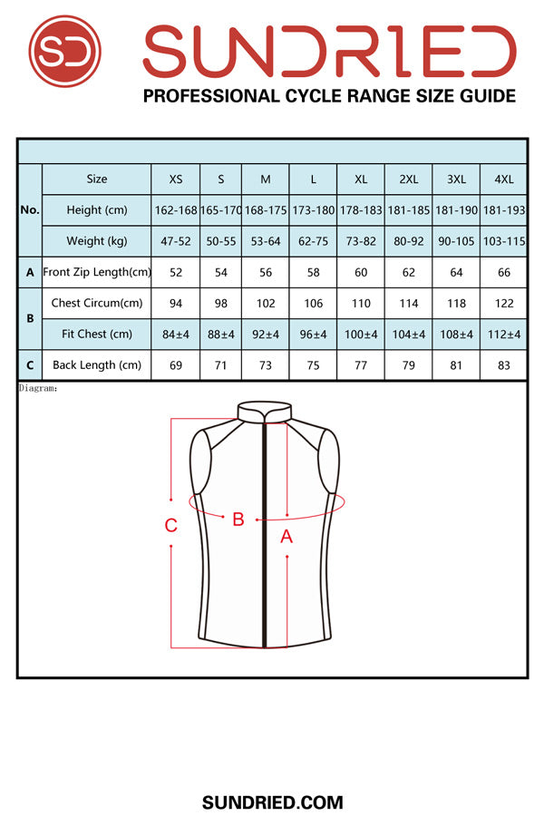 Sundried cycling gilet size guide