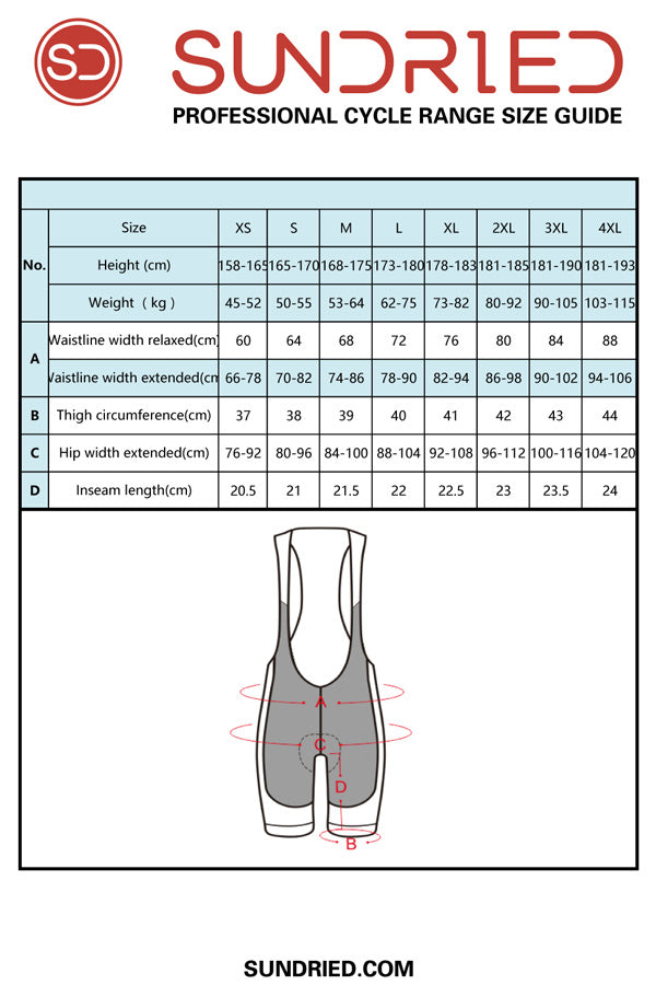 Sundried Cadence men's cycling bib shorts size guide