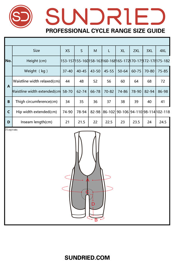 Sundried women's cycling bib shorts size guide