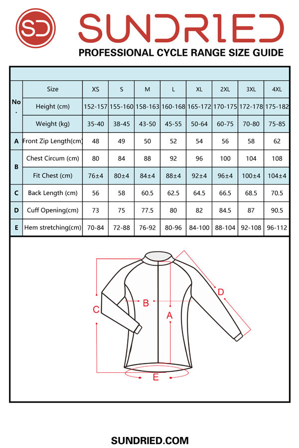 Sundried women's long sleeve cycle jersey size guide