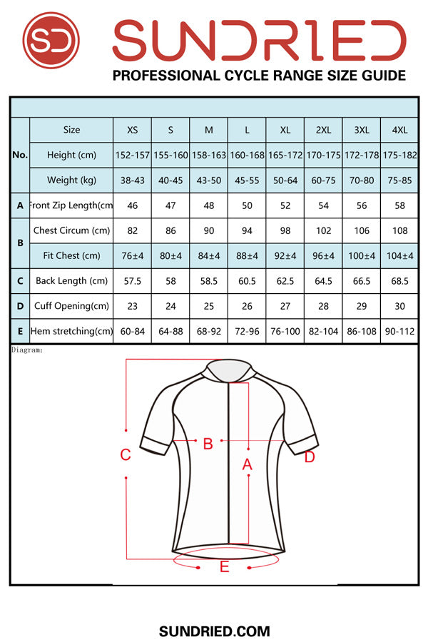 Sundried women's short sleeve cycle jersey size guide