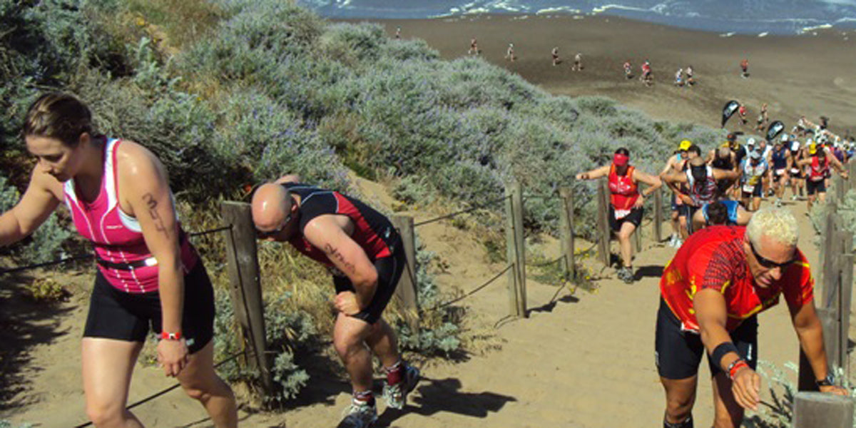 Running uphill trail runners