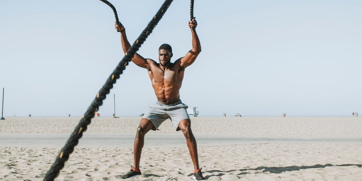 workout cardio battle ropes beach tabata