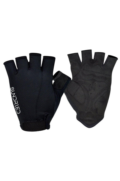 Sundried Black Fingerless Cycle Gloves Gloves L Black SD0300 L Black Activewear