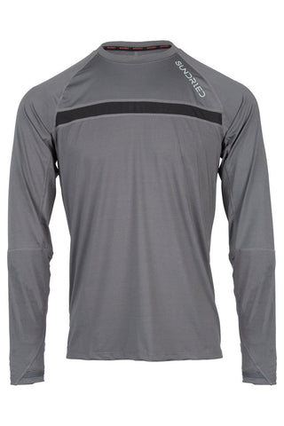 Sundried Men's Long Sleeved Training Top Baselayer L Grey SD0283 L Grey Activewear