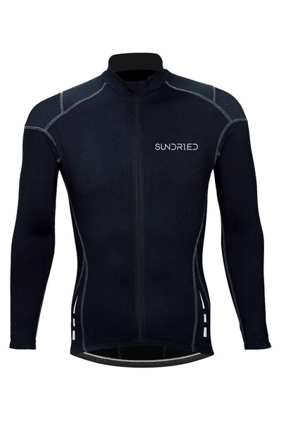 Sundried Men's Thermal Cycle Jersey Jersey S Black SD0314 S Black Activewear