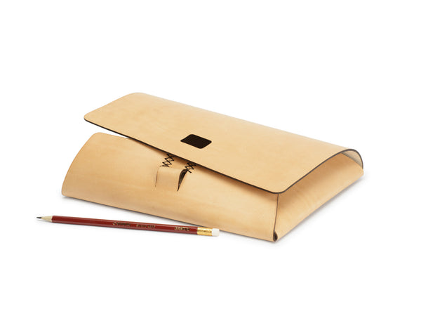 PEN-LOCK laptop cover, Tan,  Laptop Cover, leather goods, handmade, Copenhagen - Leatherprojects