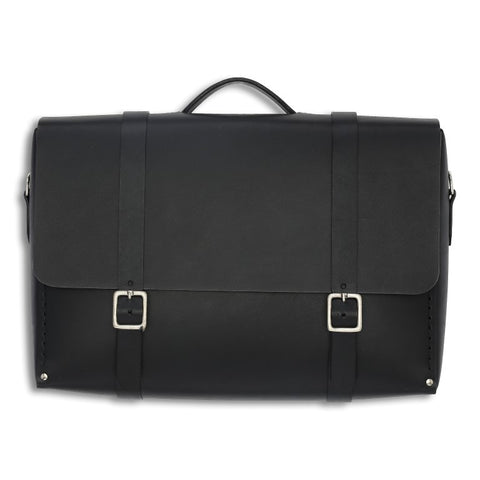 Messenger Large, Black,  Mens Bags, leather goods, handmade, Copenhagen - Leatherprojects