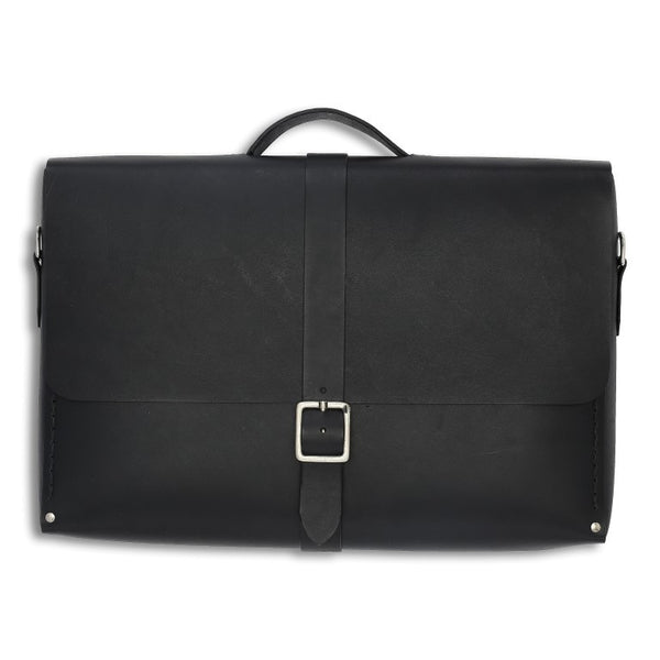 Messenger Small, Black,  Mens Bags, leather goods, handmade, Copenhagen - Leatherprojects