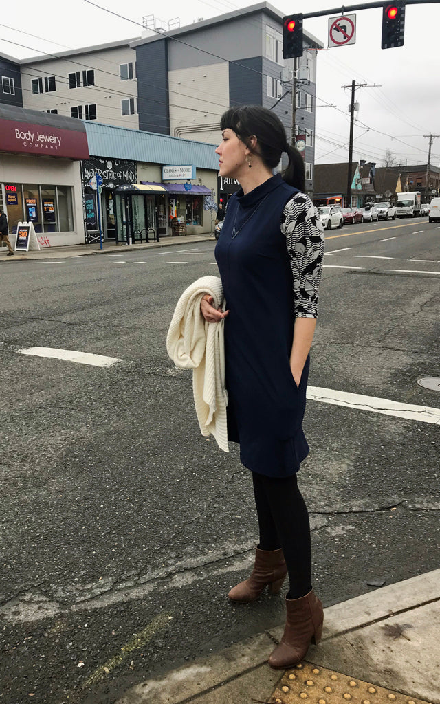 Billy Funnel Neck Dress in Navy
