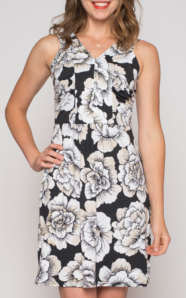 Shanti Dress in Neutral Floral Print