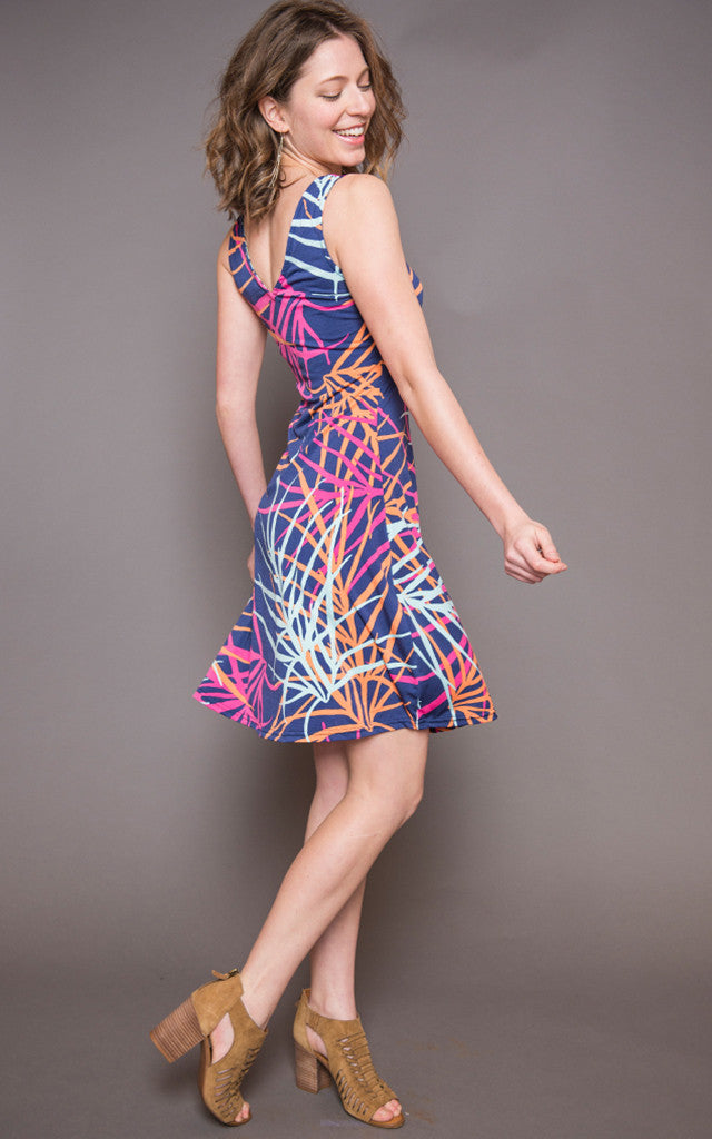 Carol Dress in Coral Fronds