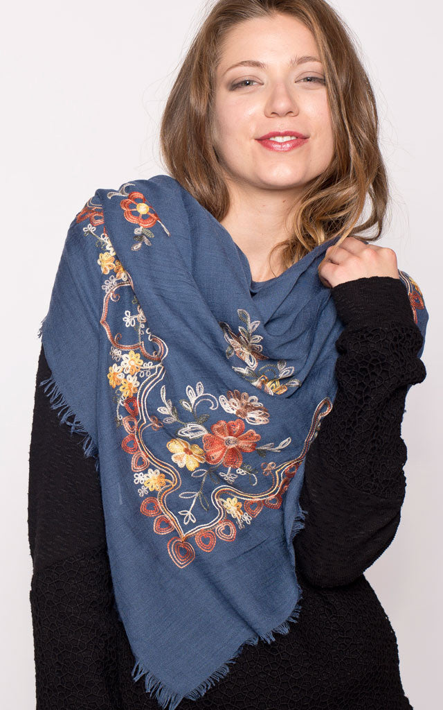Autumn Embroidered Scarf