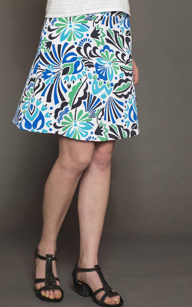 Lulu Ribbed Ponte Skirt in Folk Art