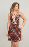 Shanti Dress in Plaid and Floral Mixed Print